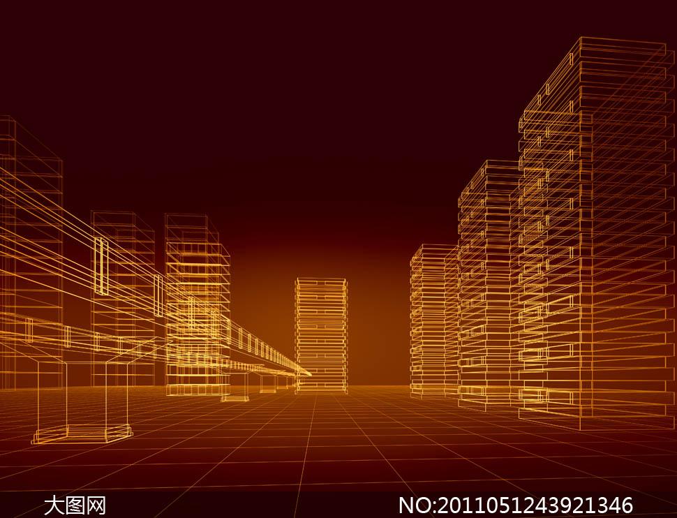 橙黄色城市建筑物高清图片素材