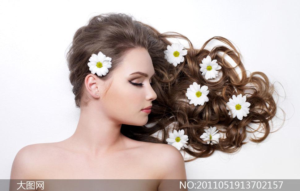 美女人物与鲜花高清摄影图片 大图网设计素材
