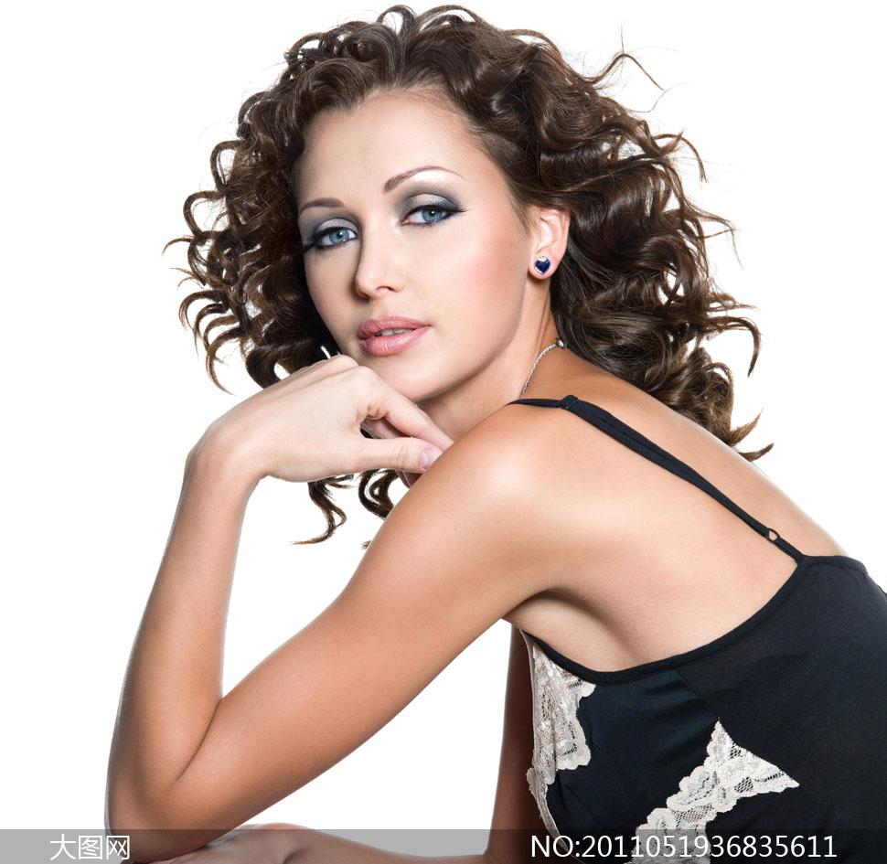美女美发卷发高清摄影图片 大图网设计素材下