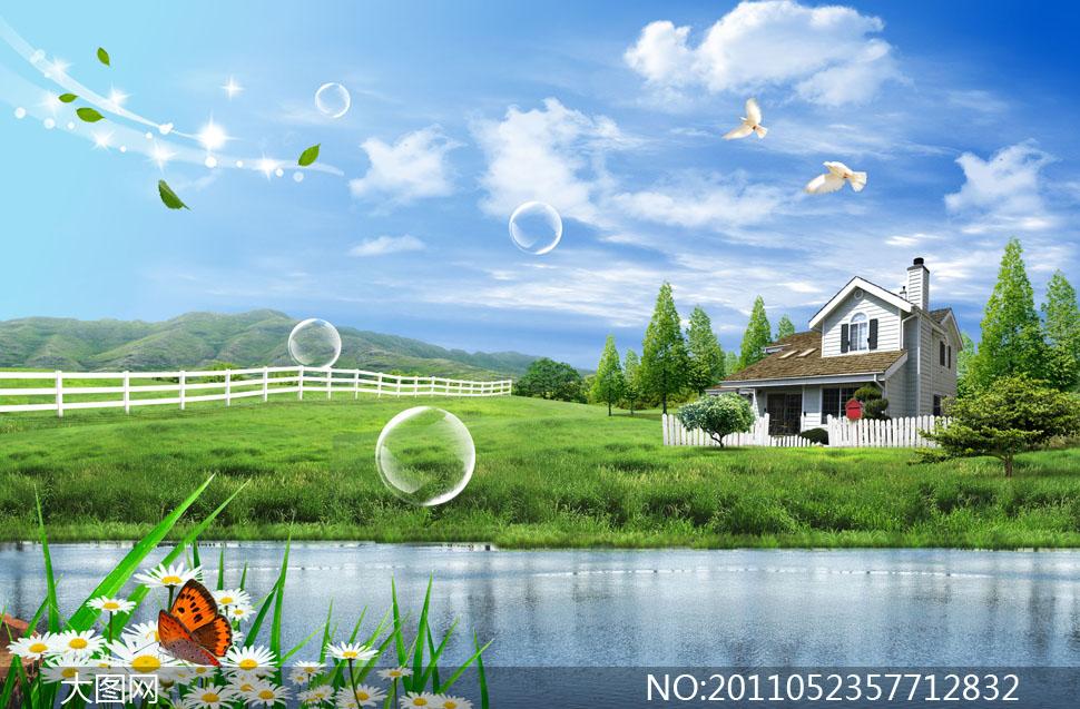 大树小河房子简笔画