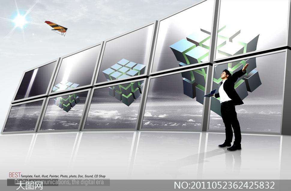 立体电视墙与魔方psd分层素材