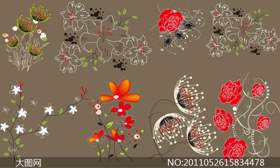 手绘植物花卉花纹藤蔓矢量素材