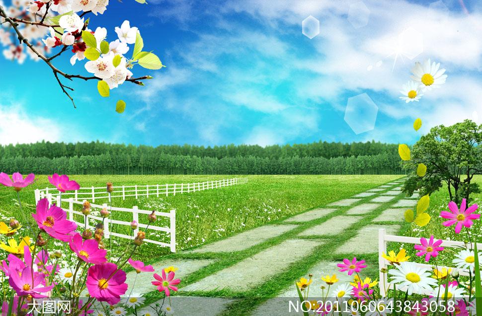 缤纷春天花卉草地小路树林psd分层素材