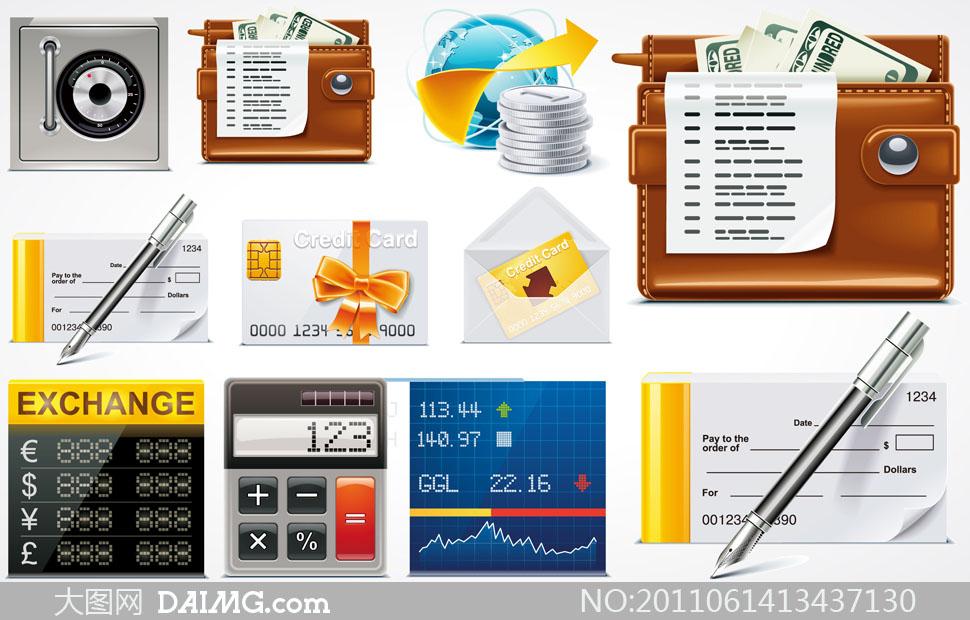 财经资讯图标_9个财经金融网页图标设计矢量素材大图网设