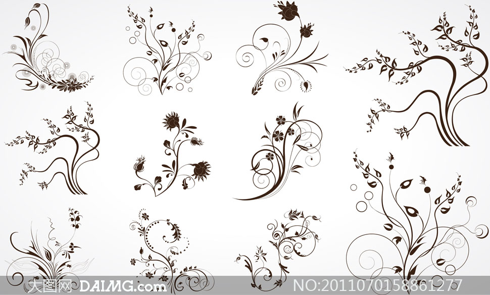 花纹图案; 矢量素材矢量图花纹装饰植物树叶花朵黑白