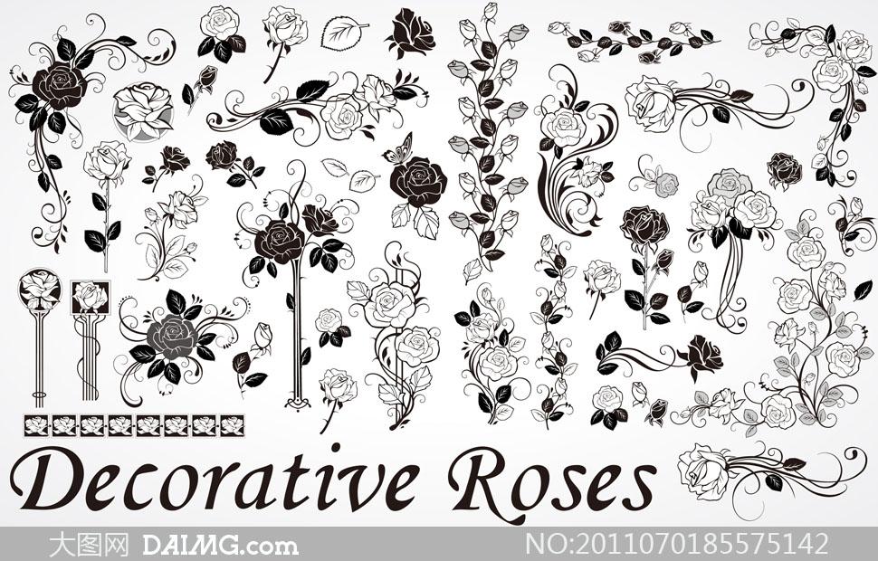 手绘黑白玫瑰花朵矢量素材图片