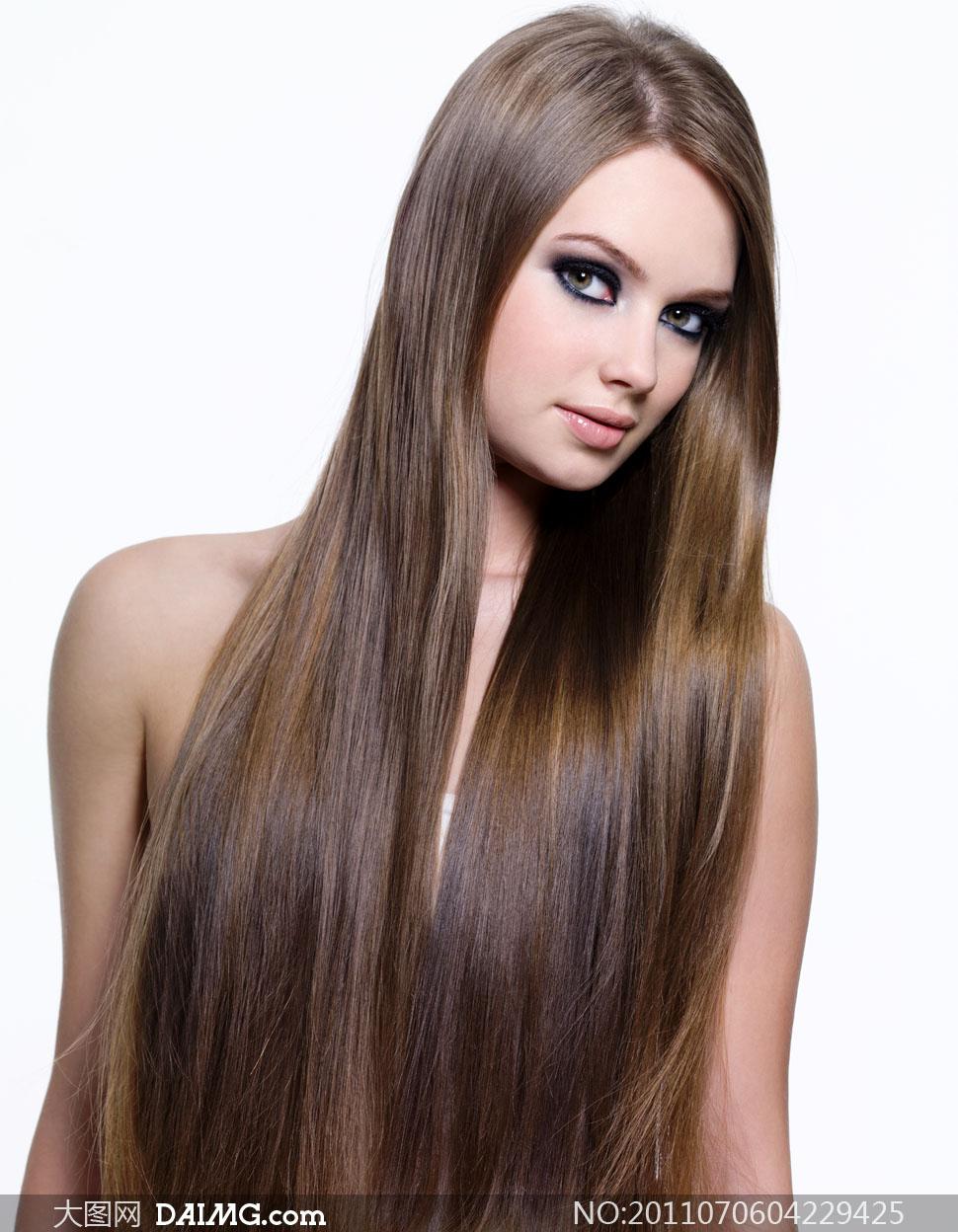 顺滑秀发美女人物高清摄影图片