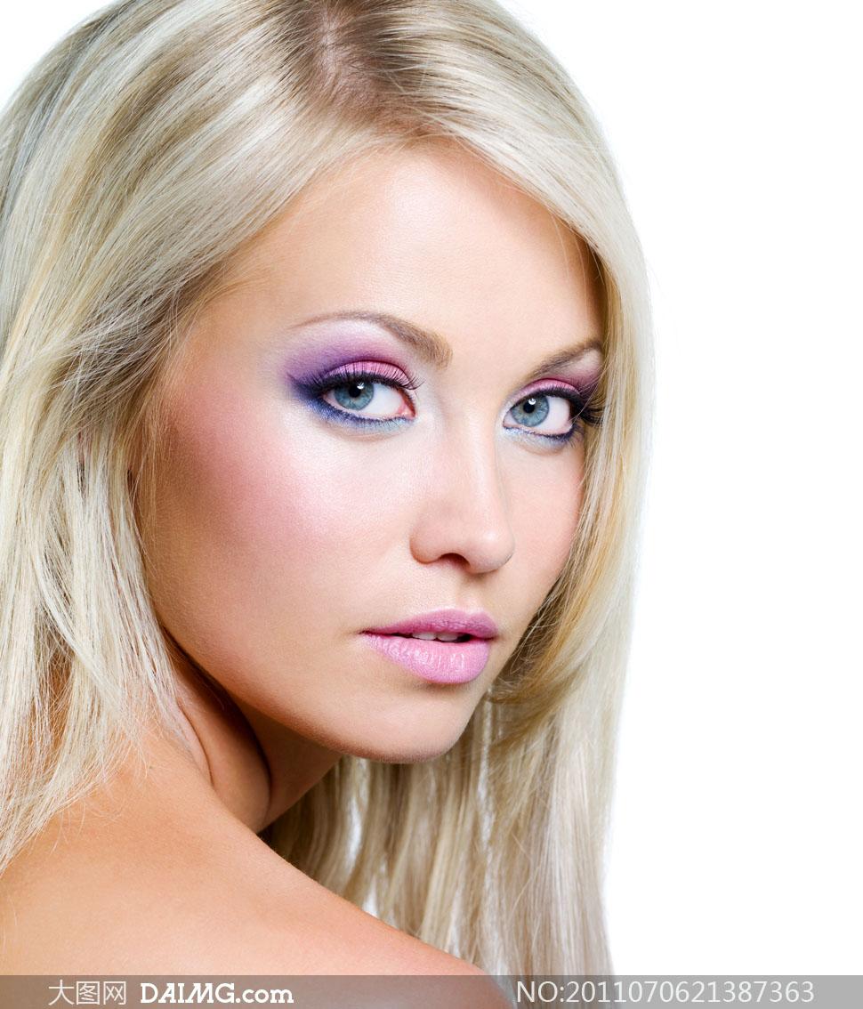 白发彩妆美女人物高清摄影图片