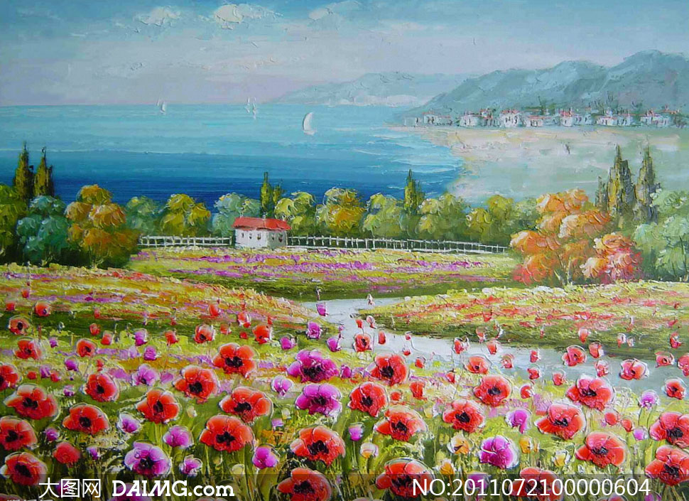 海滨风景油画作品图片素材