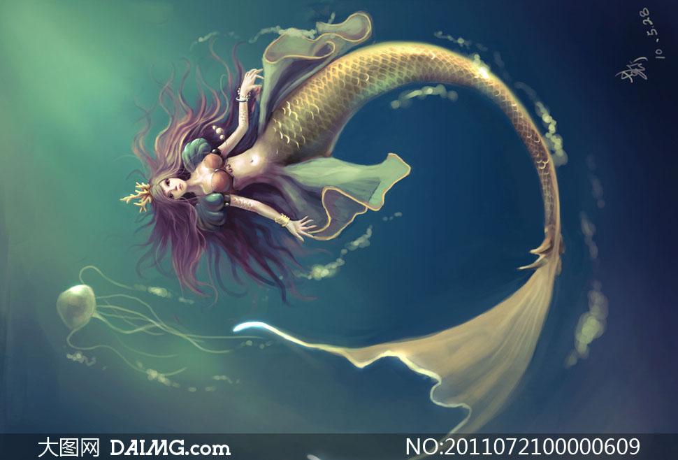水中倒立游动的人鱼公主绘画图片素材 大图网