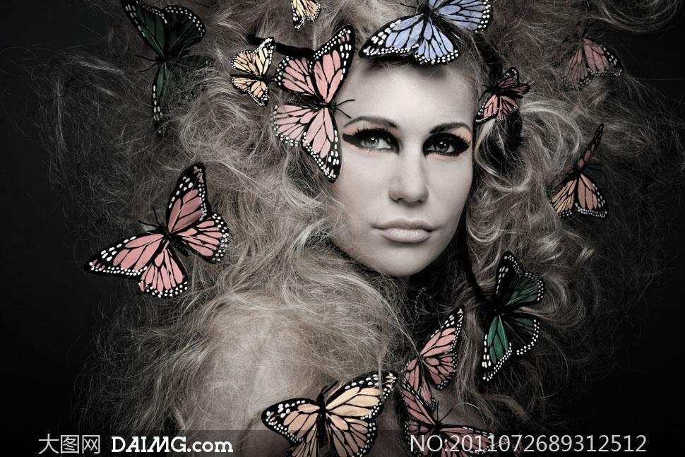 凌乱卷发彩妆美女大图摄影高清图片-创意网设迎接美女图片图片