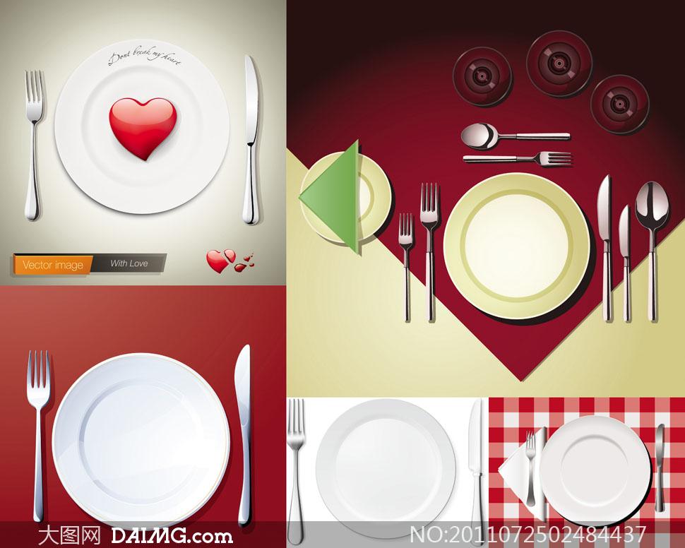 碟子桌布花布格子餐巾心形红心爱心桃心刀叉叉子白色