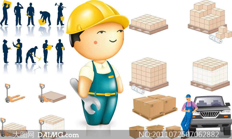 货物运输仓库存储主题矢量素材