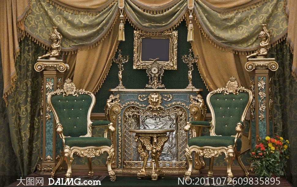 欧式风格尊贵室内装饰高清摄影图片
