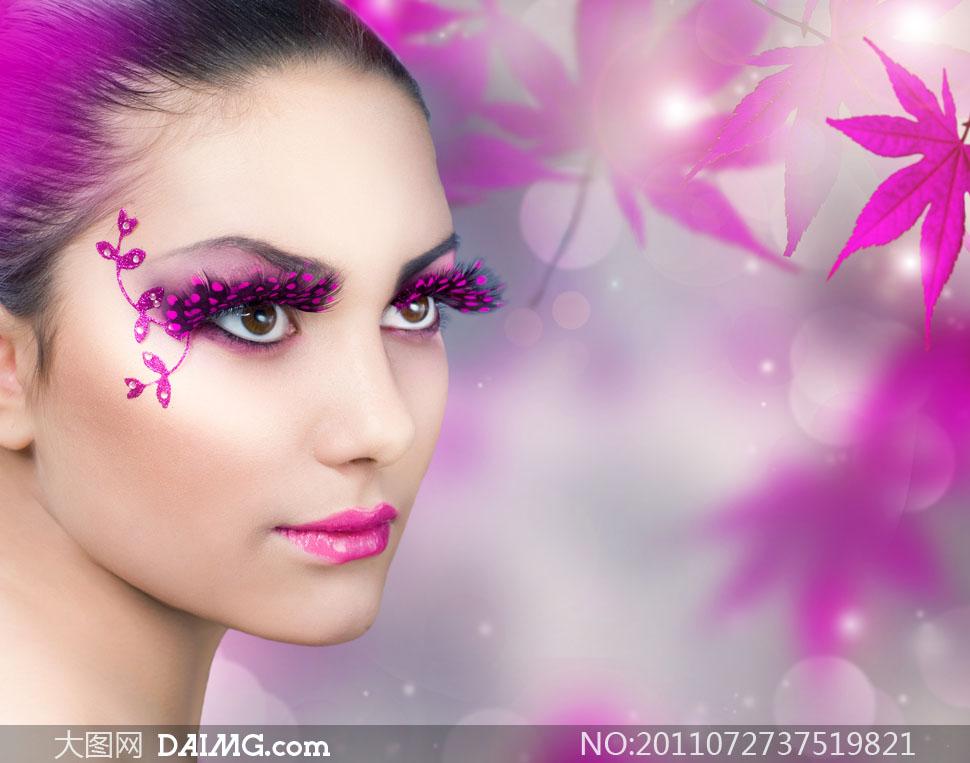 紫色假睫毛的美女人物高清摄影图片 大图网设