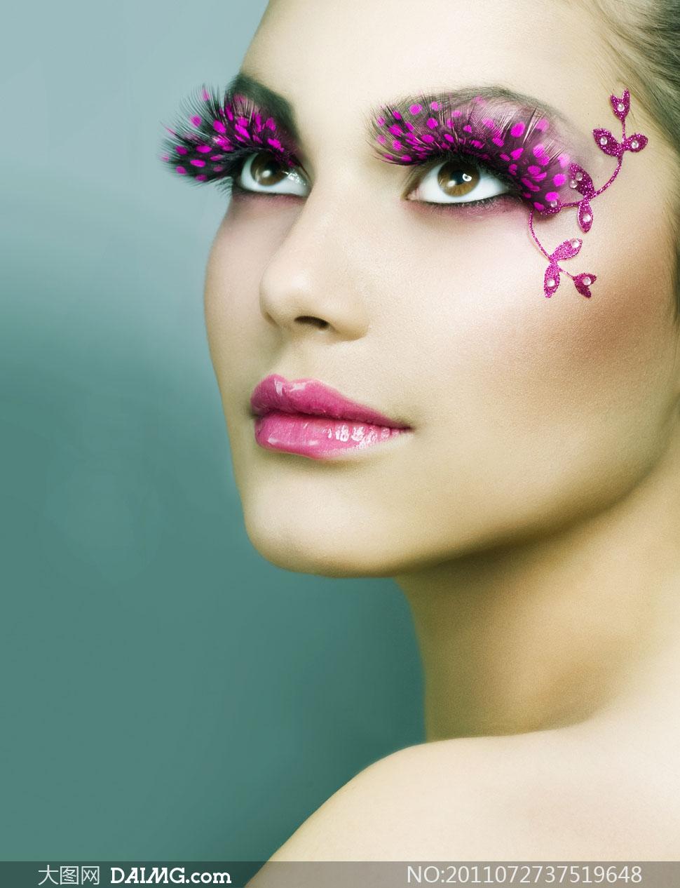 睫毛眼妆彩绘美女人物高清摄影图片