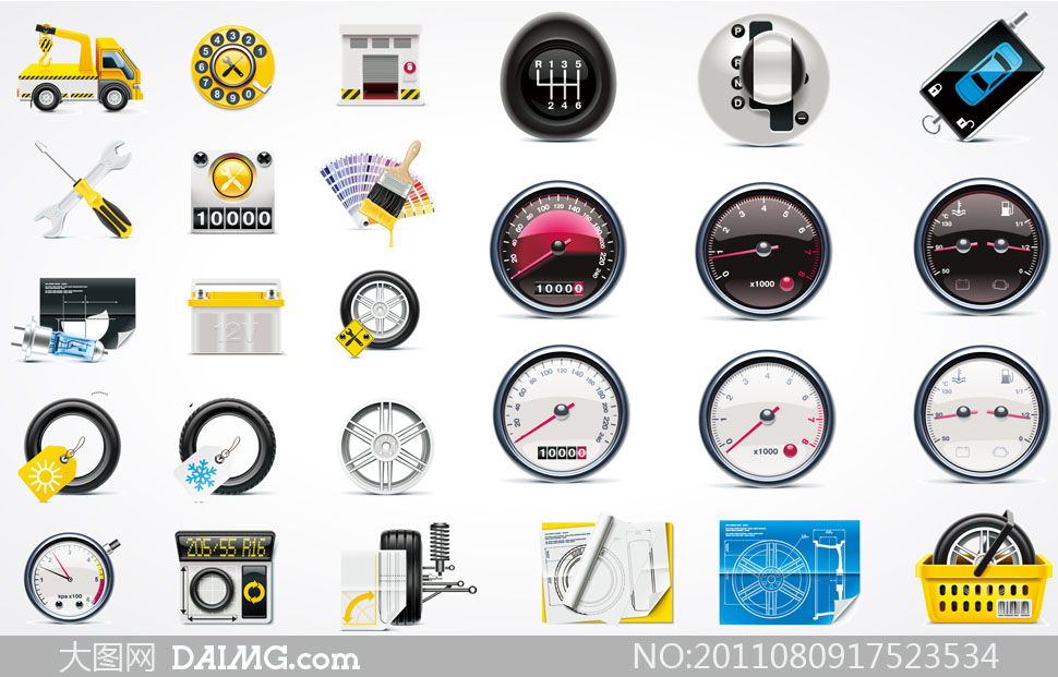 汽车维修主题图标矢量素材 - 大图网设计素材下
