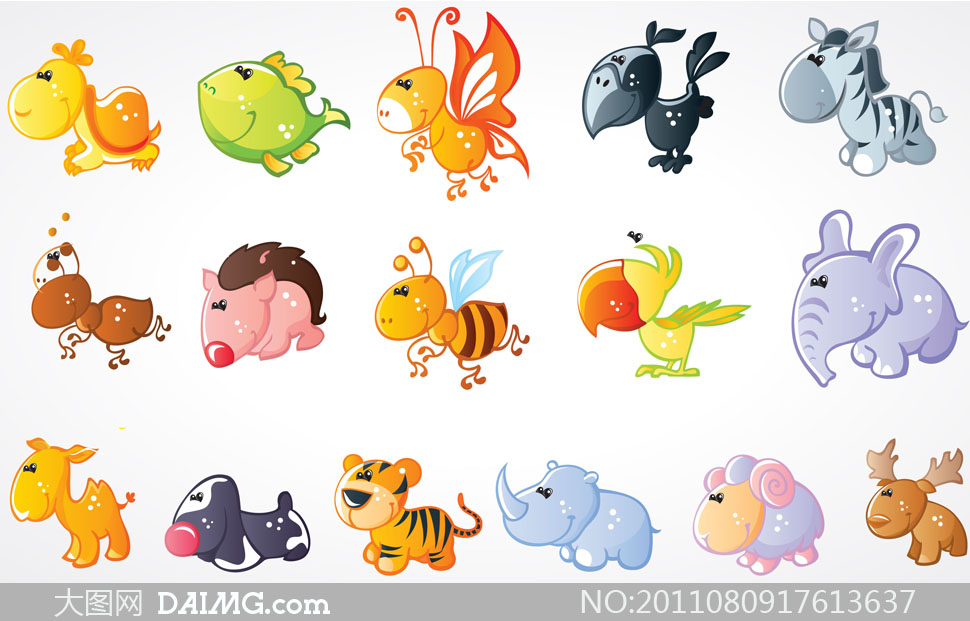 关键词: 矢量素材矢量图卡通可爱小动物乌龟蜜蜂斑马蚂蚁鹦鹉老虎犀牛