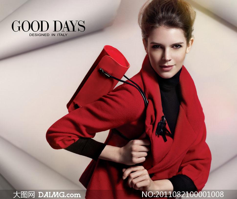 人物女性女人人物图库摄影红色外套大衣高清图片素材