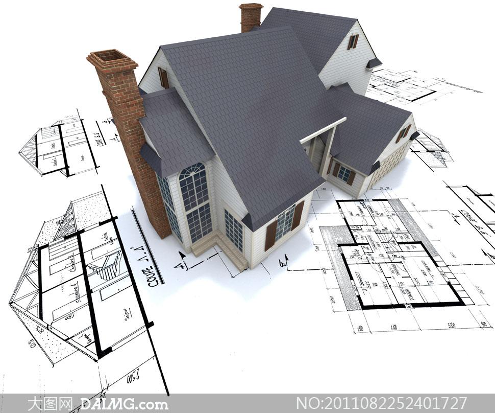 图纸示意图平面图立面图烟囱房屋房子施工建设立体模型灰色民居民宅