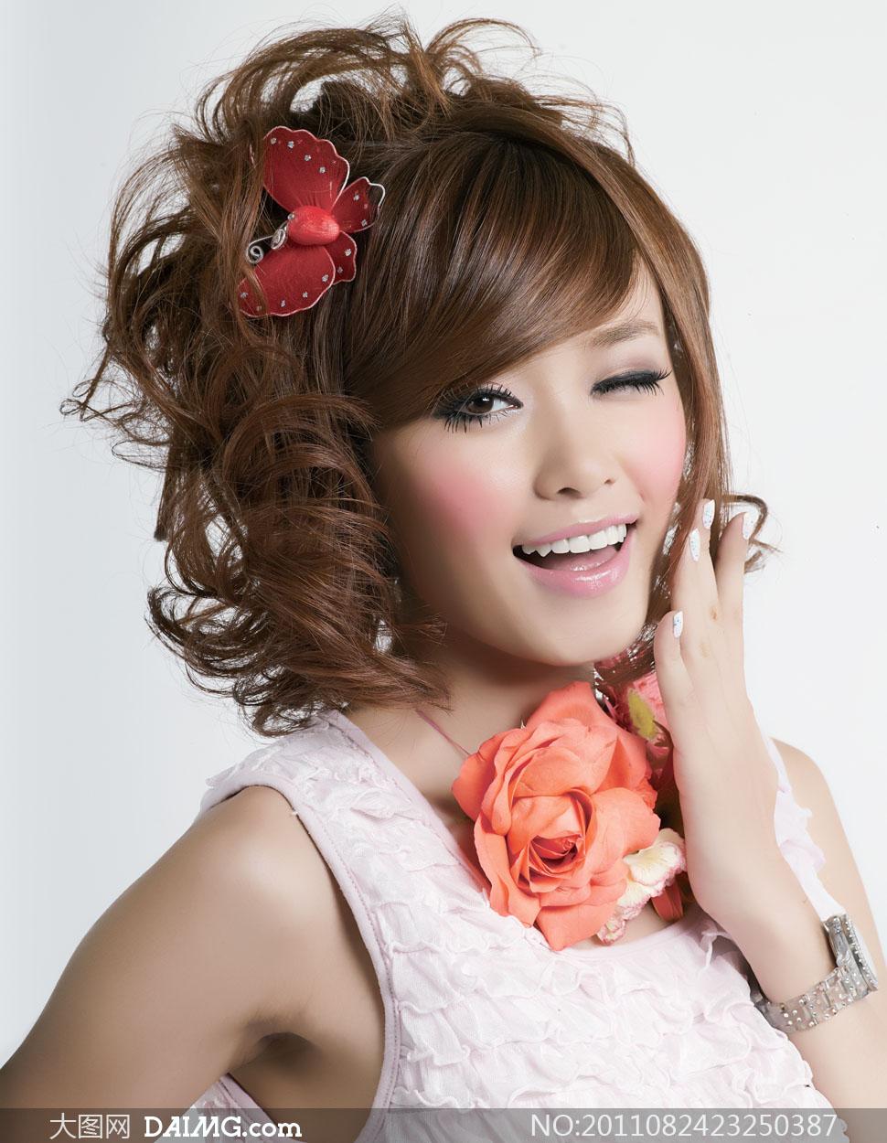 发型美发美女人物高清摄影图片