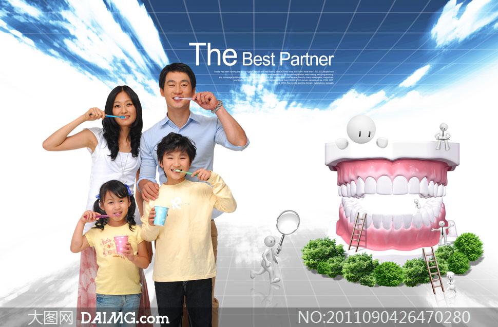psd分层素材韩国素材人物男人美女女人刷牙牙刷杯子