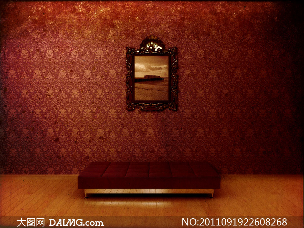 装饰装修装潢效果图家装欧式古典怀旧地板墙面墙纸