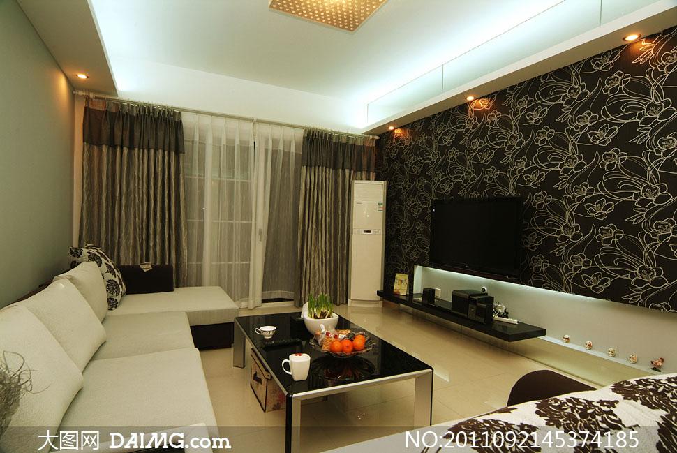 客厅与电视墙装修效果高清图片