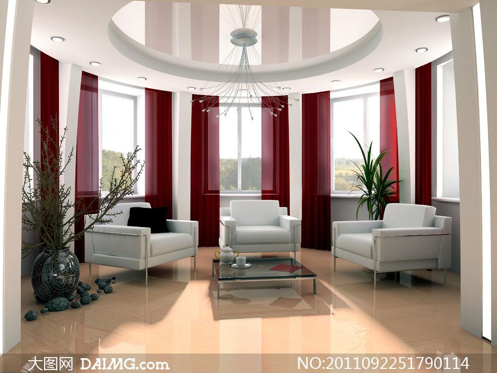 豪华别墅客厅室内装修高清摄影图片 - 大图网设计素材