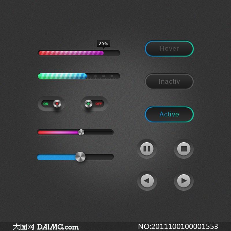 网页播放器ui设计psd素材下载