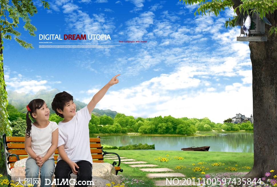 湖边风景与儿童人物手势指向psd分层素材