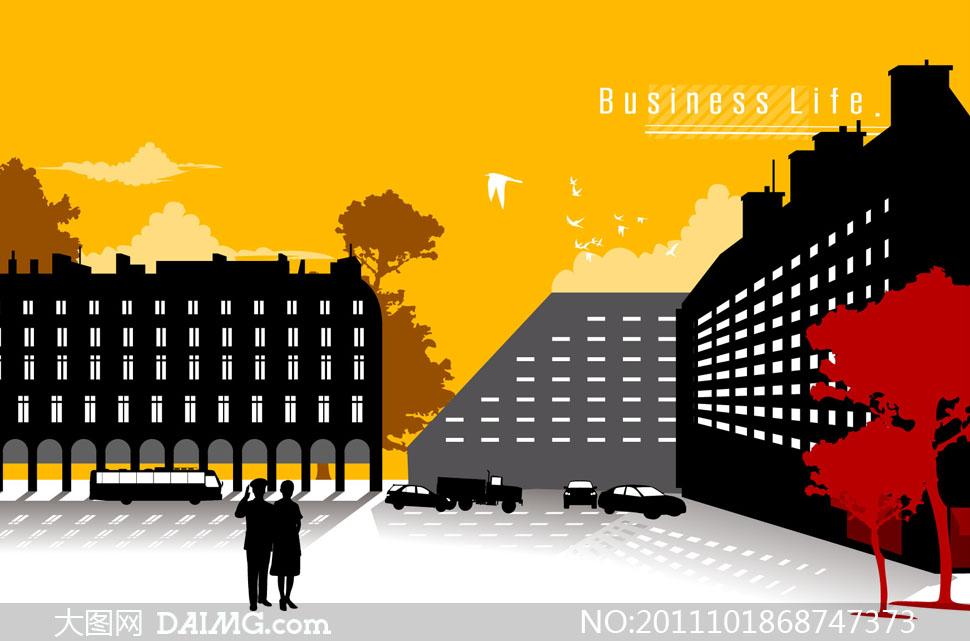 关键词: 矢量素材矢量图剪影城市建筑物高楼大厦楼房大楼大树树木云朵