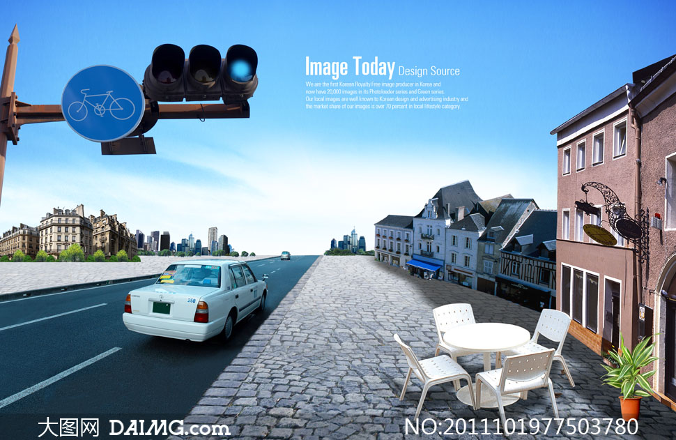 城市街道 交通指示灯创意设计psd分层素材 大