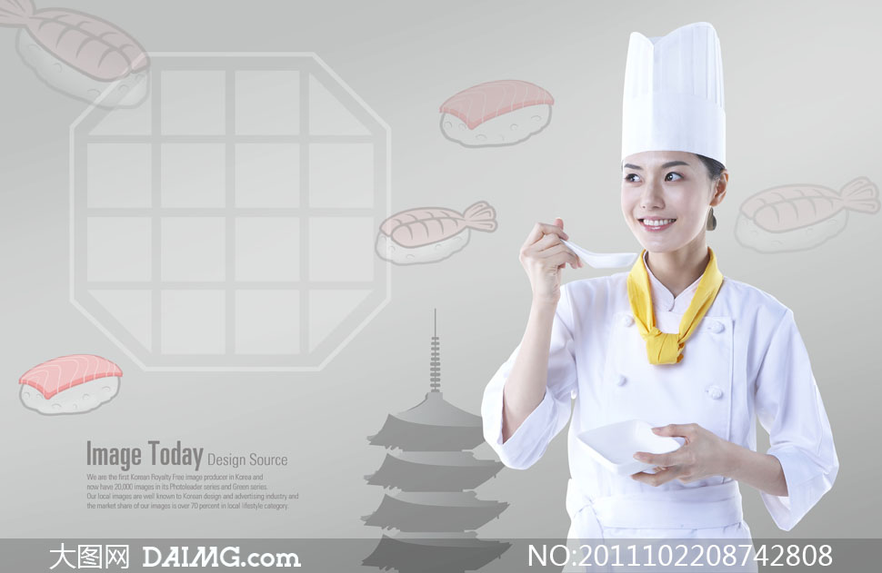 正在品尝美味的美女厨师人物PSD分层素材 大