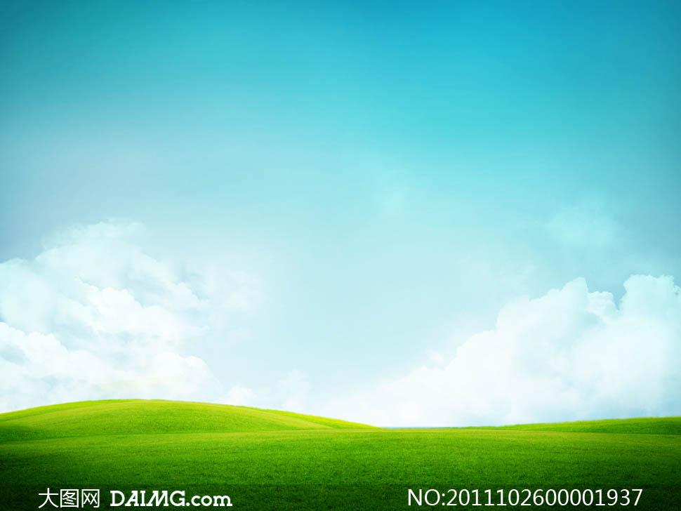 超美的蓝天白云草地高清图片 - 大图网设计素材