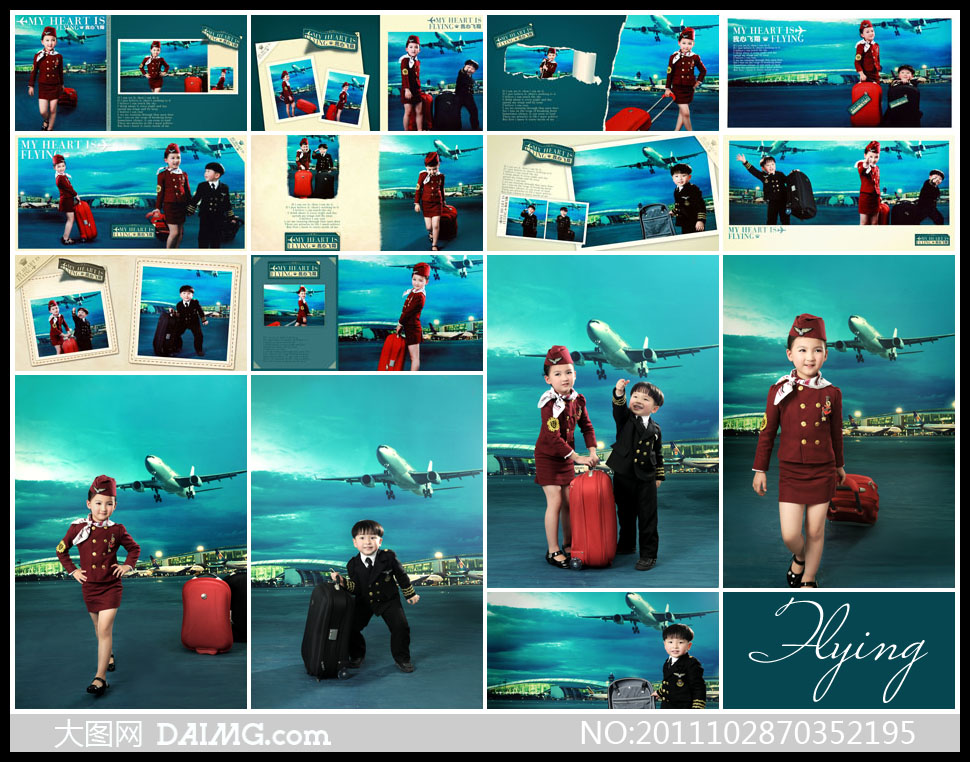 空姐小朋友拉杆箱行李箱小女孩小男孩飞机机场内景