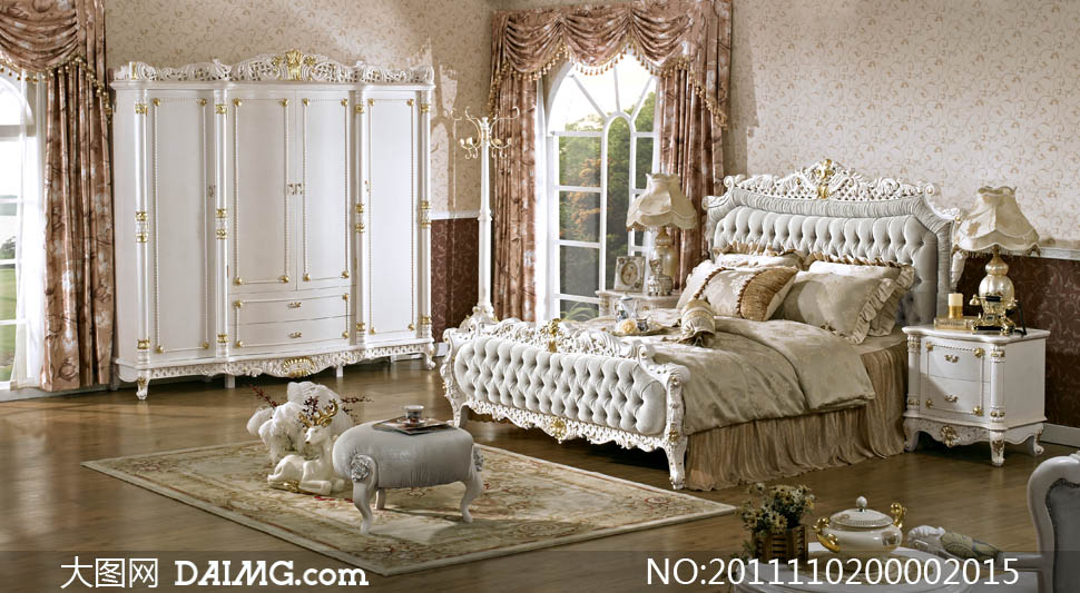 欧式家具床摆放效果图摄影图片 - 大图网设计素