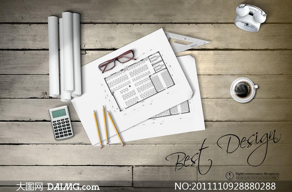 木板上的建筑设计图纸psd分层素材