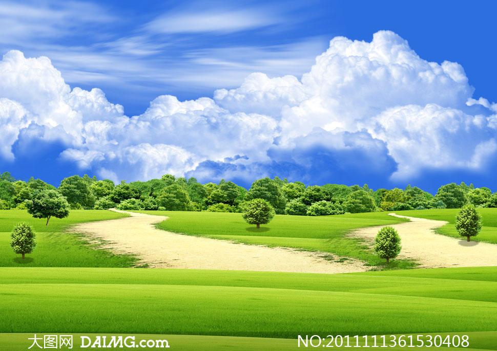 蓝天白云树林草地风景高清摄影图片