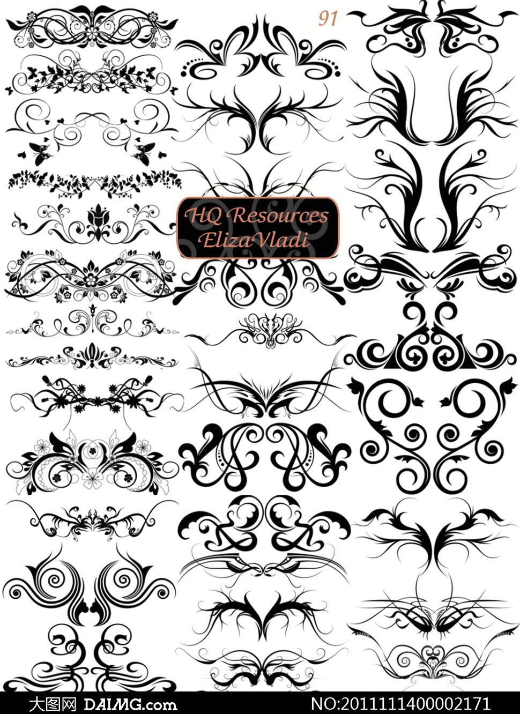 花纹花边欧式边角装饰纹身设计对称ps笔刷ps素材