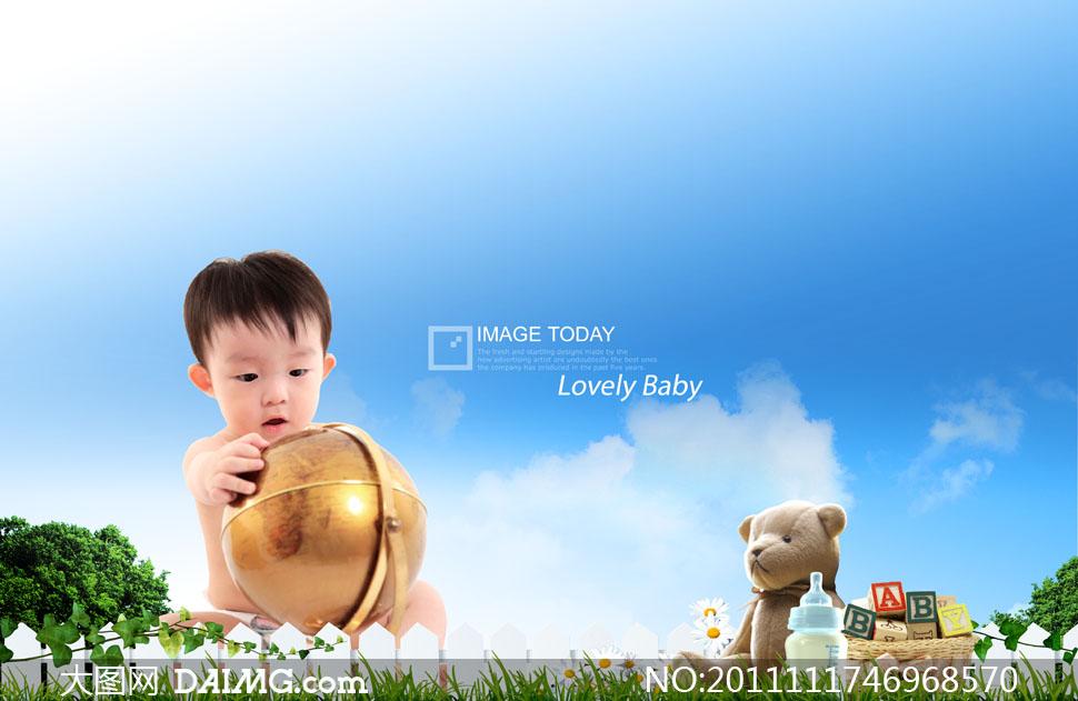 蓝天白云小宝宝与玩具小熊psd分层素材 - 大图