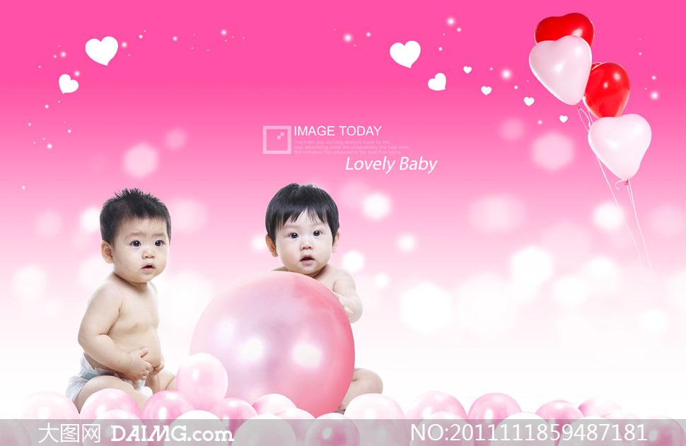 两个可爱小宝宝与气球psd分层素材