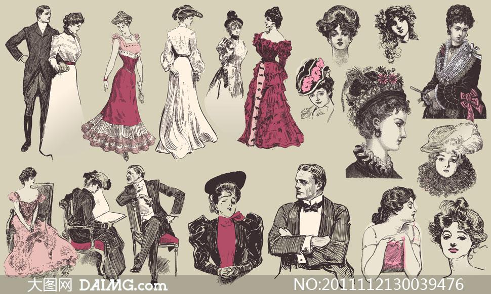 关键词: 矢量素材矢量图矢量人物美女女人欧风欧美男人复古怀旧长裙