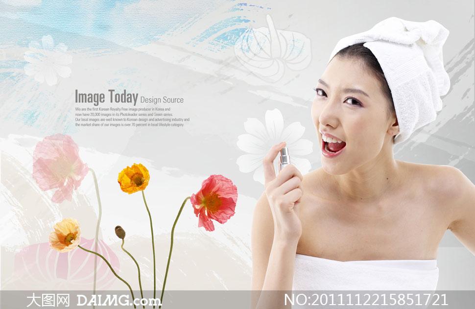 洗浴之后的韩国美女人物psd分层素材