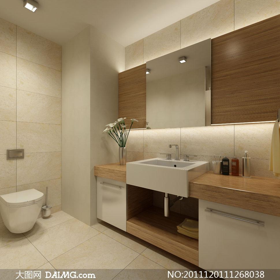 洗手间室内装修效果图高清摄影 高清图片