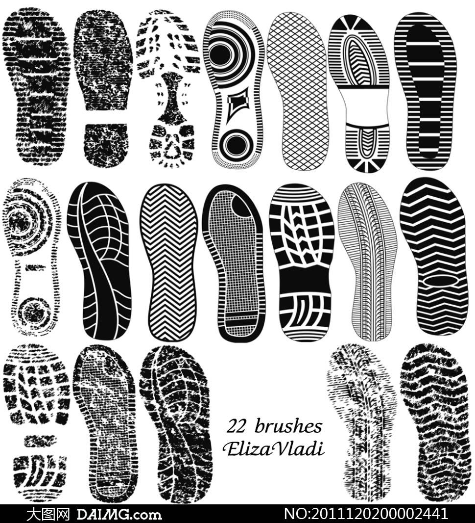颓废鞋印笔刷 - 大图网设计素材下载