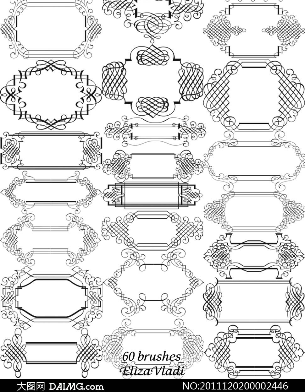 动手网 -> 简单的手绘花纹边框图片 简单