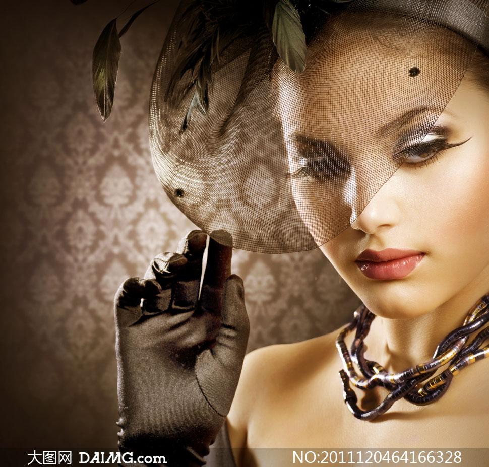 复古时尚妆容美女人物高清摄影图片 大图网设