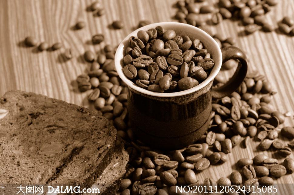 满杯的咖啡豆高清摄影图片素材
