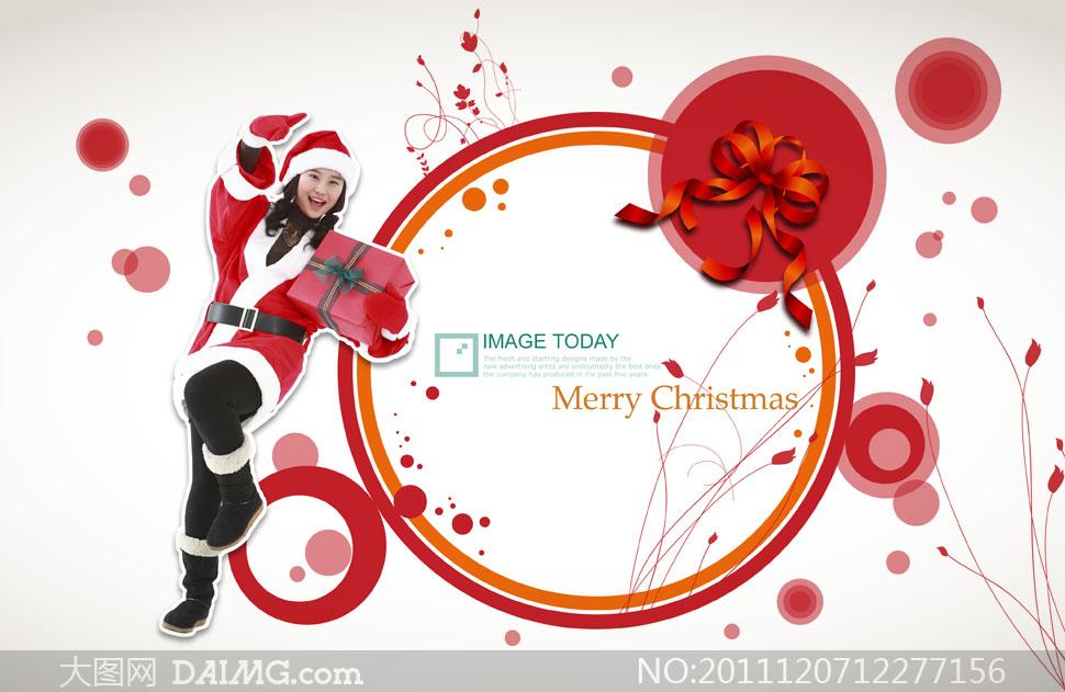 圣诞节花纹边框装饰与美女人物psd分层素材